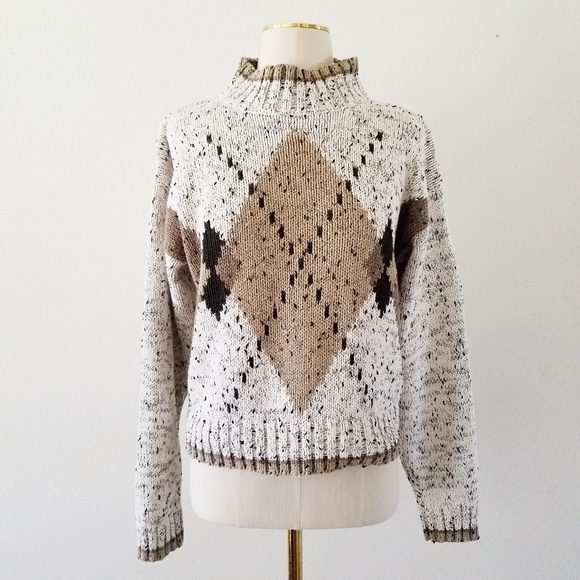 Vintage Sweaters - Vtg Small Brown Argyle Turtleneck Cropped Sweater